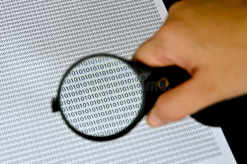 Magnifying glass with success word. On background stock image