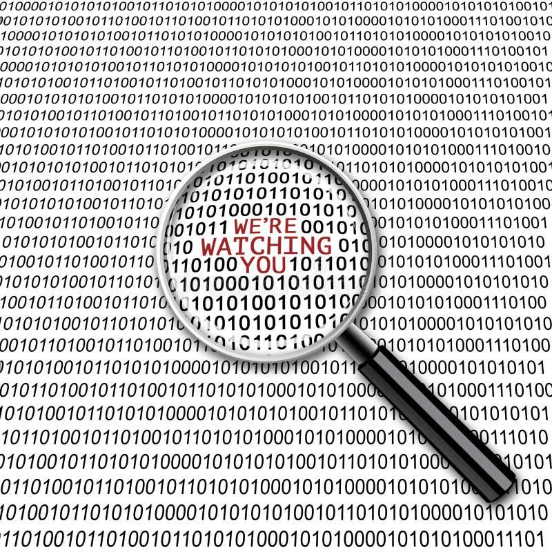 Digital surveillance magnifying glass scary control virus technology royalty free illustration