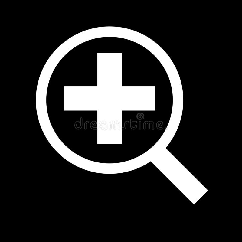 Magnifying glass for web icons and symbols on a black background. Flat vector illustration