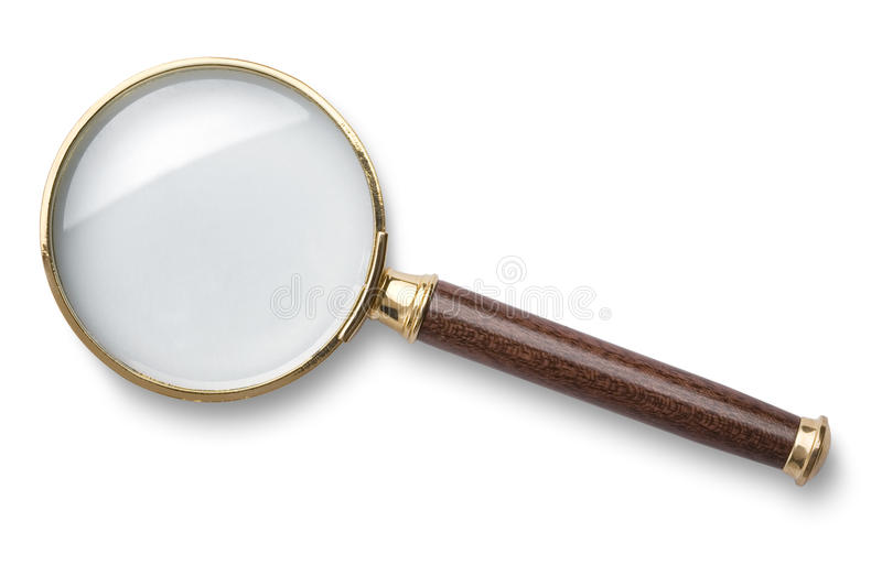 Magnifying glass. On white background stock images