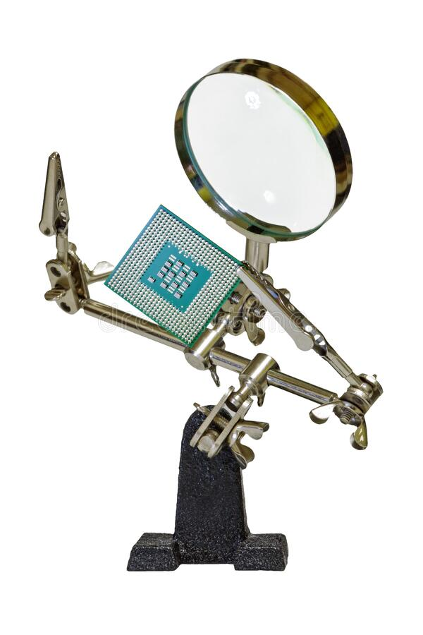 Free Magnifying Glass With Computer Processor Stock Photos - 182723763