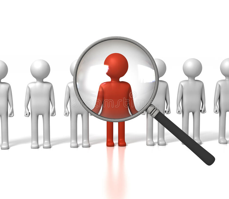 Magnifying Red Man Out Stock Images