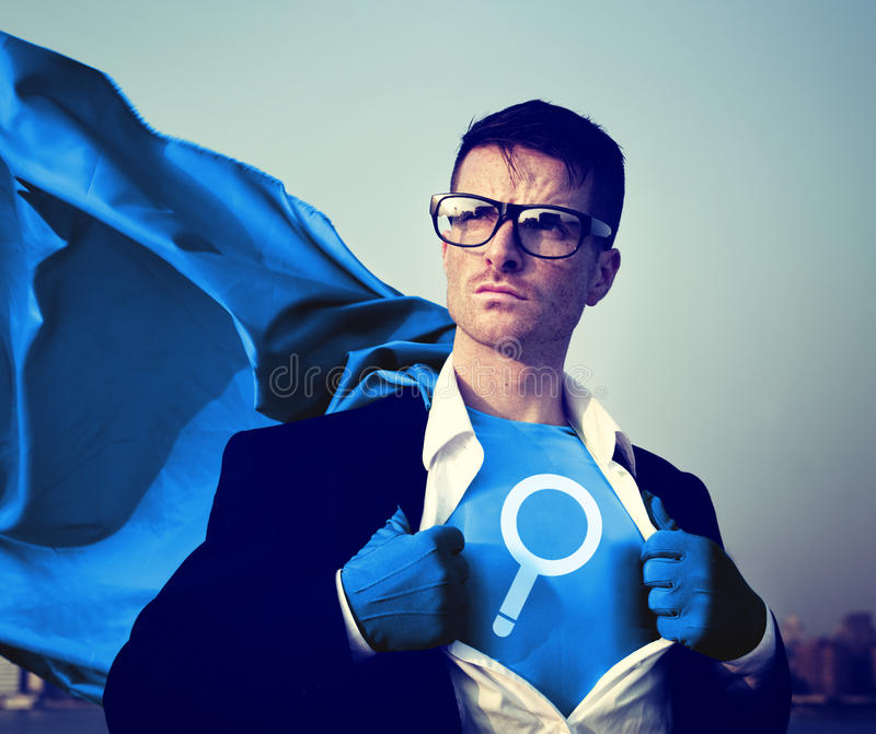 Magnifying Strong Superhero Success Professional Empowerment Stock Concept.  stock photography