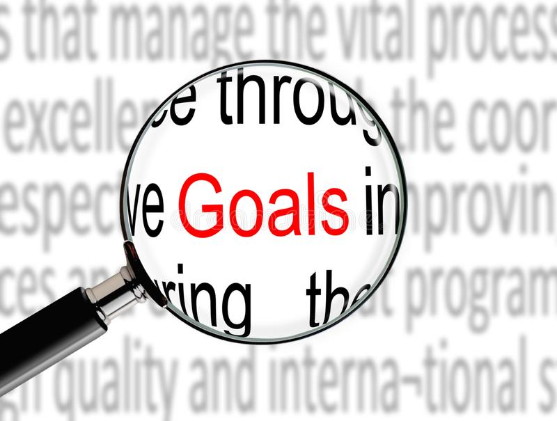 Download Magnifying on Word Goals stock illustration. Image of paper - 33710070