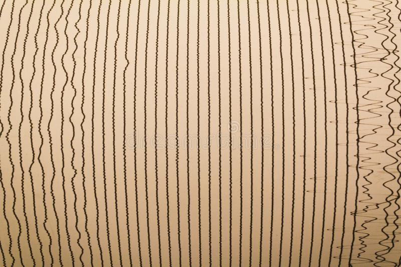 Magnitudo lines of earthquake. The lines that characterize the danger scale of an earthquake stock images