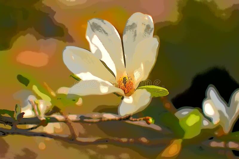 Magnolia blanca floreciente ilustración del vector