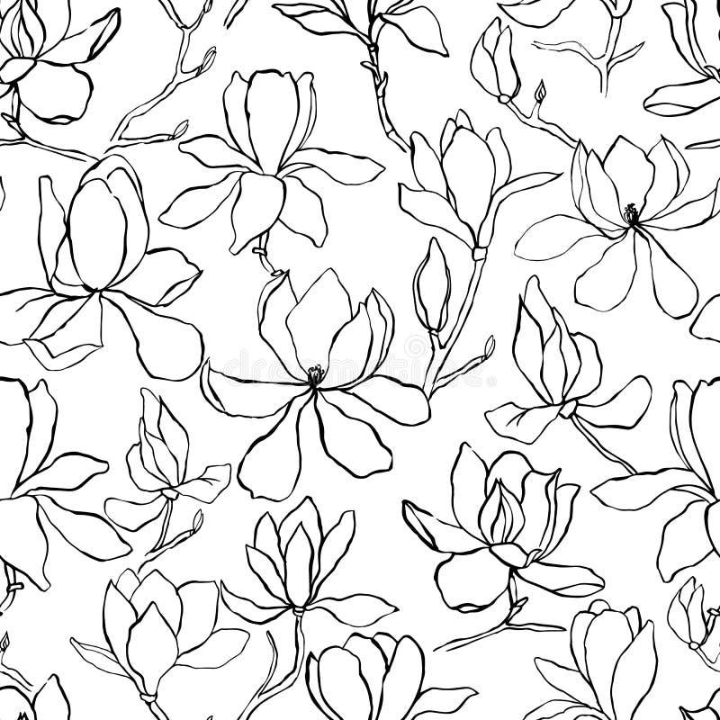 Magnolia Blom- vektorbakgrund i linjen stil seamless modell Filialer med blommor av magnolian Modern moderiktig grafisk design stock illustrationer
