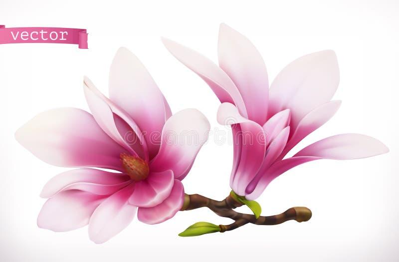 Magnolia 3d realistisch vectorpictogram vector illustratie