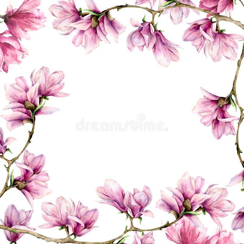 Magnolia de la acuarela y tarjeta cuadrada de las hojas Frontera pintada a mano con las flores en la rama aislada en el fondo bla ilustración del vector