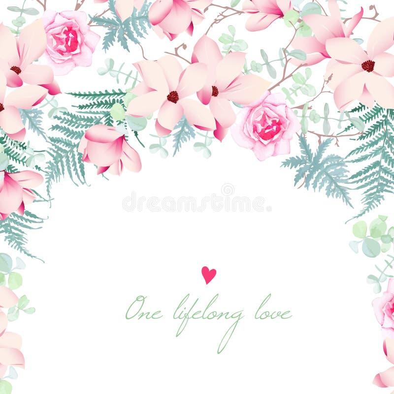 Magnolia de mariage et carte rose de vecteur de fleurs illustration stock
