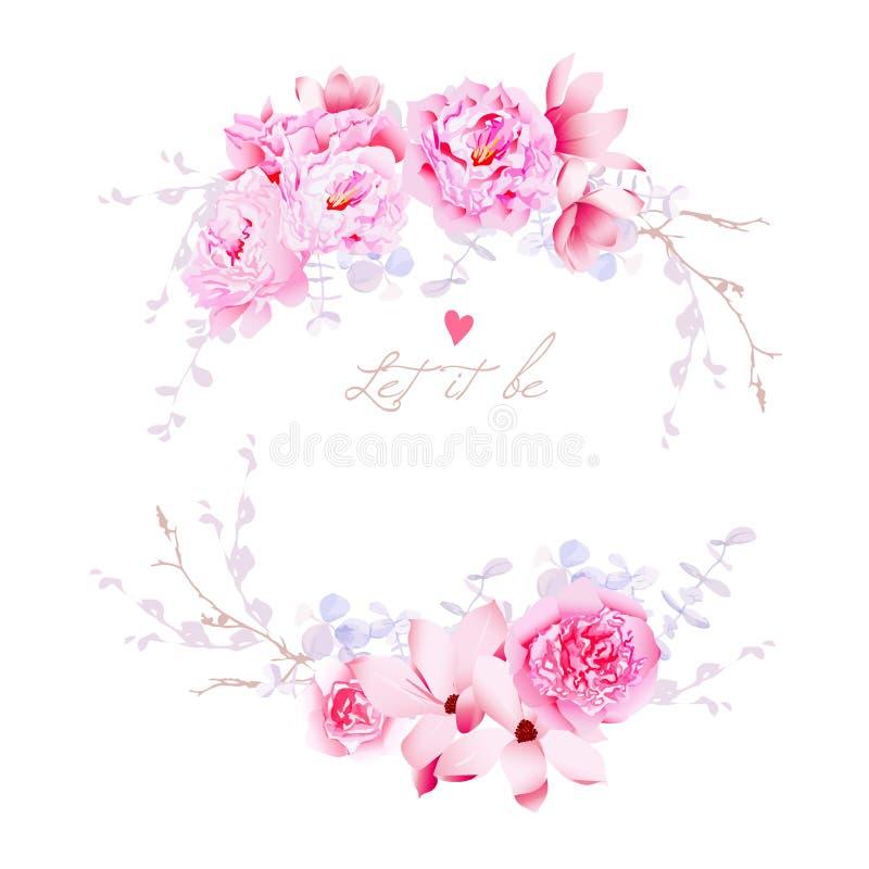 Magnolia de ressort et cadre de vecteur de pivoines Épouser doux de fleurs illustration de vecteur