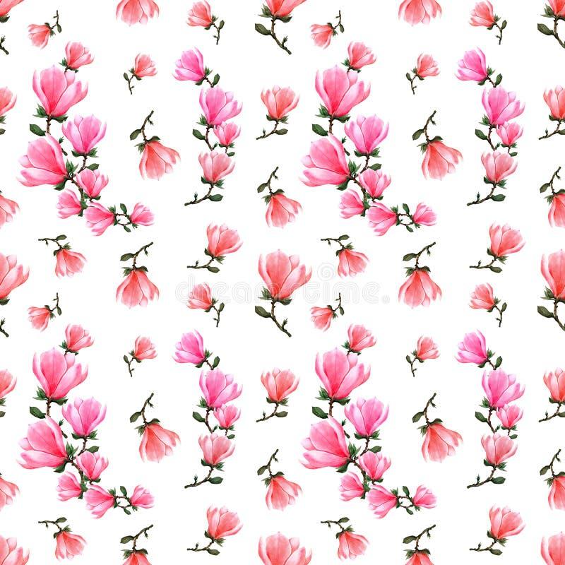 Magnolia floral de la acuarela inconsútil del modelo y hojas verdes libre illustration