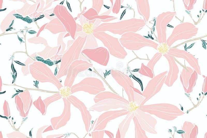 Magnolia Flores rosadas del resorte Fondo inconsútil del vector Ilustración de la vendimia stock de ilustración
