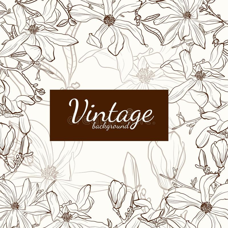 Magnolia flower brown sepia outline greeting card on beige background. stock illustration