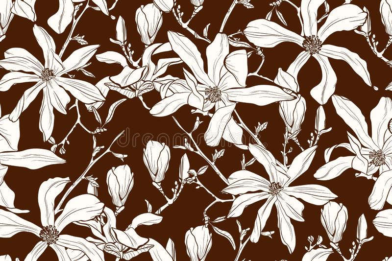 Magnolia flower brown sepia outline . Spring flowers. Seamless vector background. stock illustration
