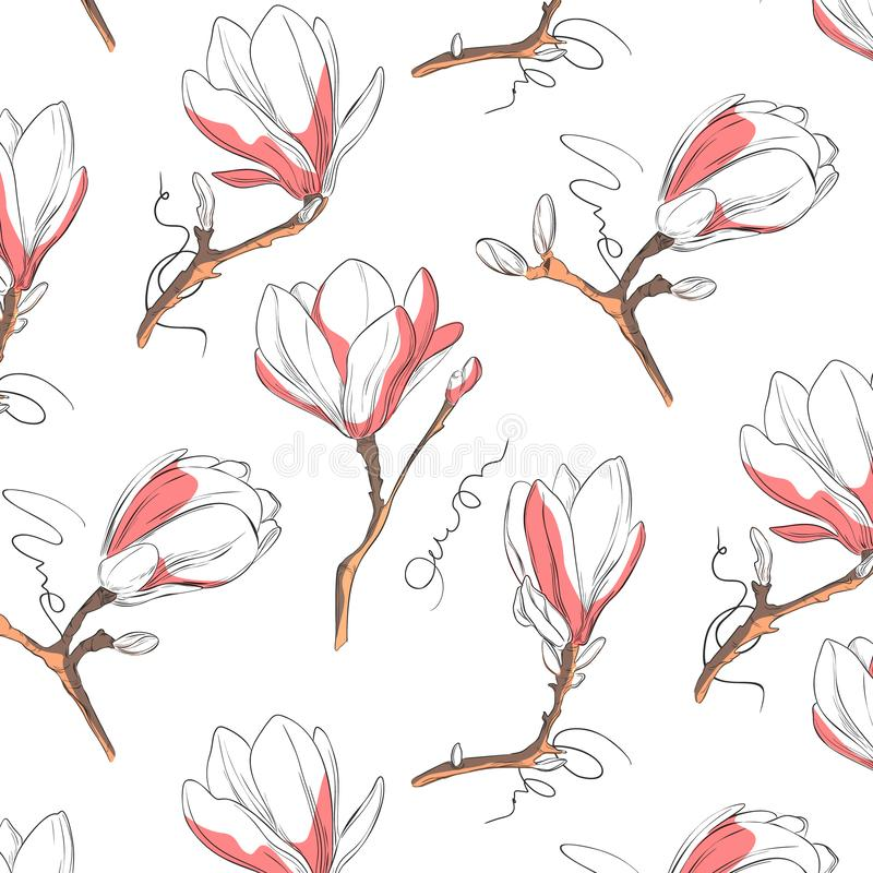 Magnolia flower pattern. Repeat botanical texture with flowers in blue and pastel pink on white background. Hand drawn vector illustration