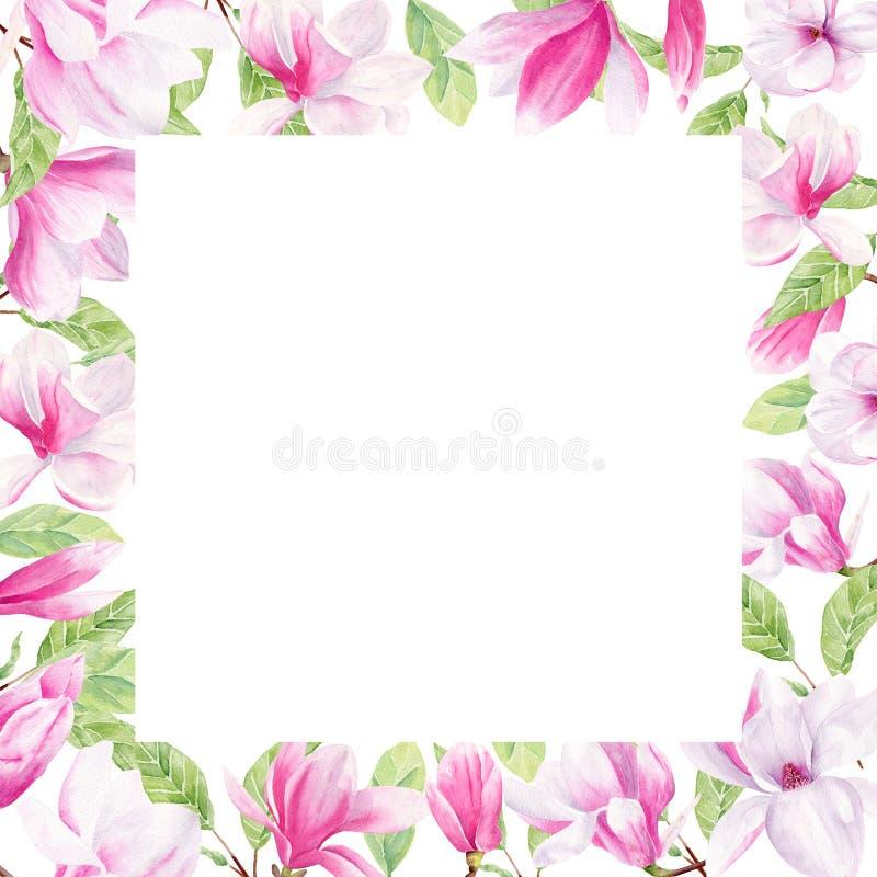 Magnolia flower watercolor hand drawn raster frame template vector illustration