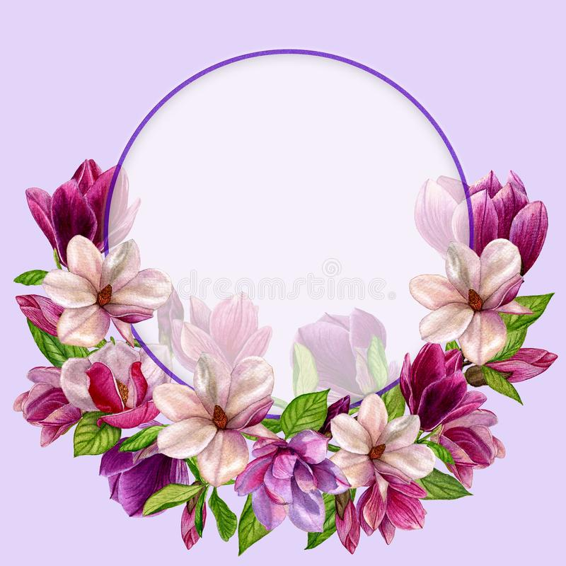 Magnolia flower wreath in a watercolor style. stock illustration
