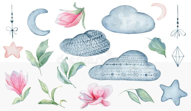 Magnolia flowers  and clouds set watercolor illustration stock photo