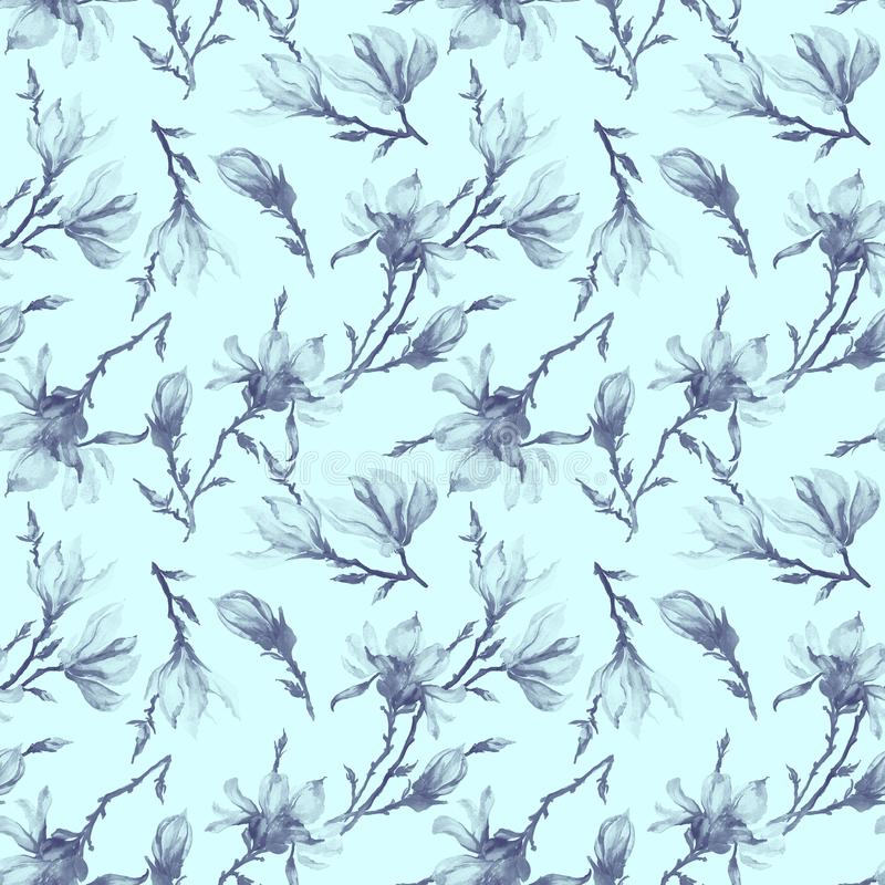 Magnolia flowers on a twig. Seamless pattern. Semitransparent grey flowers on light blue background. Seamless floral pattern. Watercolor painting. Can be used royalty free stock images