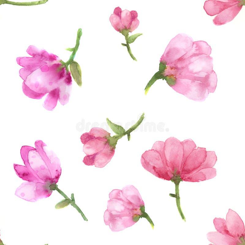 Magnolia flowers watercolor on white background seamless raster pattern. stock illustration