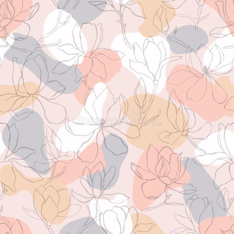 Magnolia Fondo floral del vector en la línea estilo Modelo incons?til Ramas con las flores de la magnolia Diseño gráfico de moda  libre illustration