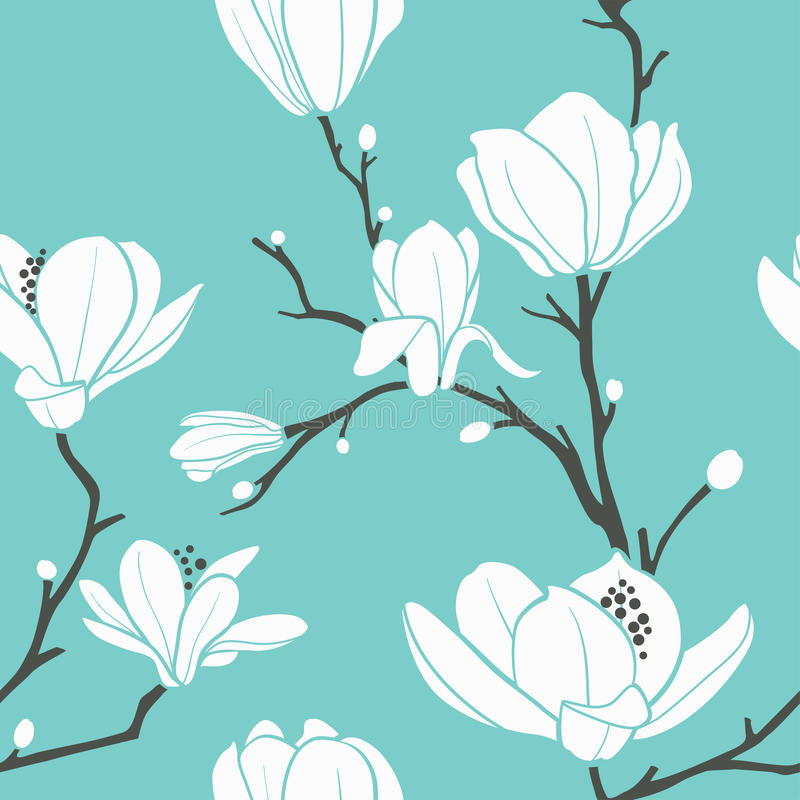 Magnolia pattern. Seamless pattern with magnolia flowers