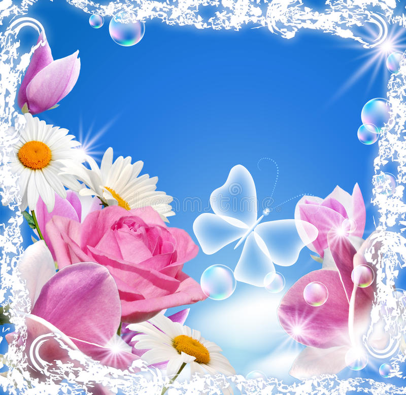 Magnolia, rose, daisy and transparent butterfly stock illustration