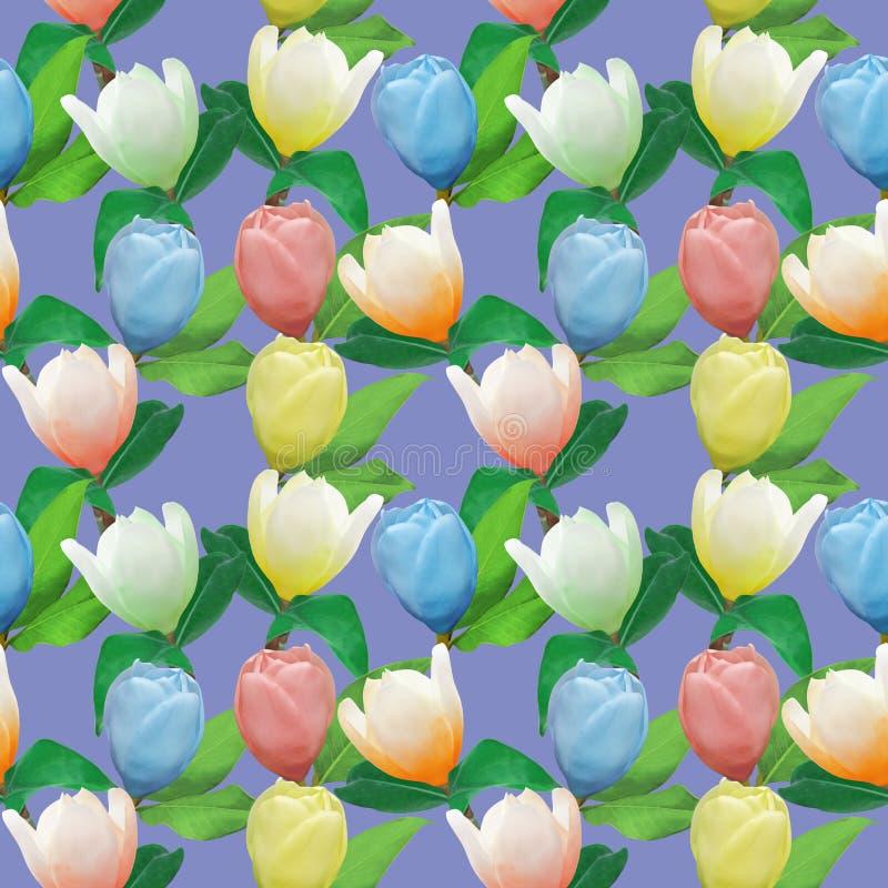 Magnolia Textura inconsútil del modelo de flores Fondo floral, collage de la foto libre illustration