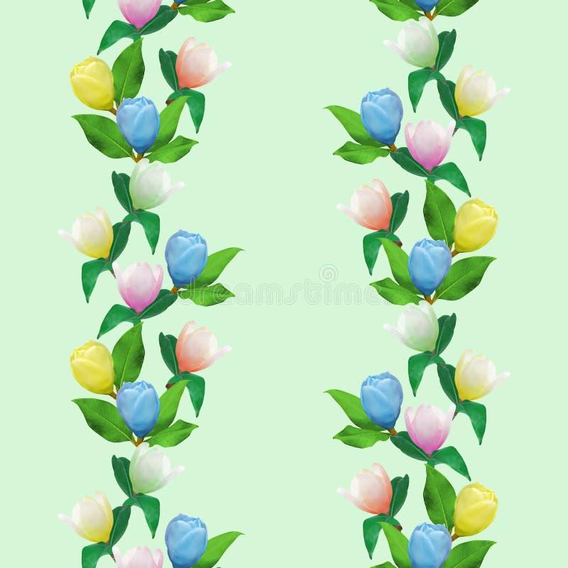 Magnolia Textura inconsútil del modelo de flores Fondo floral, collage de la foto stock de ilustración