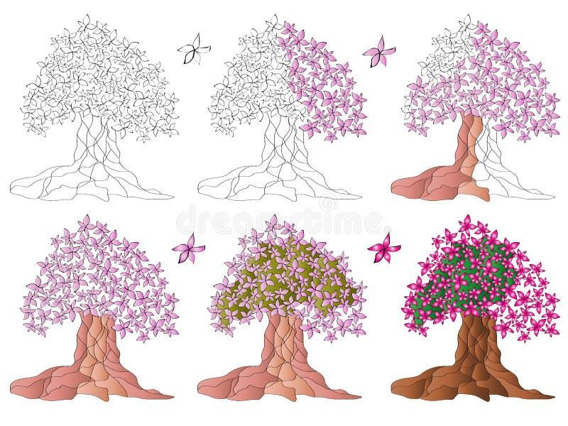 Magnolia, un árbol floreciente ilustración del vector