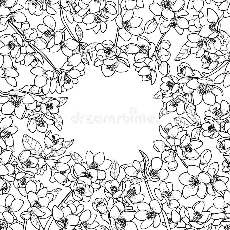 Magnolia y Cherry Spring Round Frame stock de ilustración