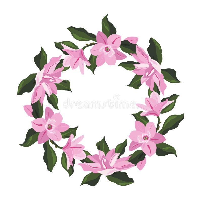 Magnoliablommaram stock illustrationer