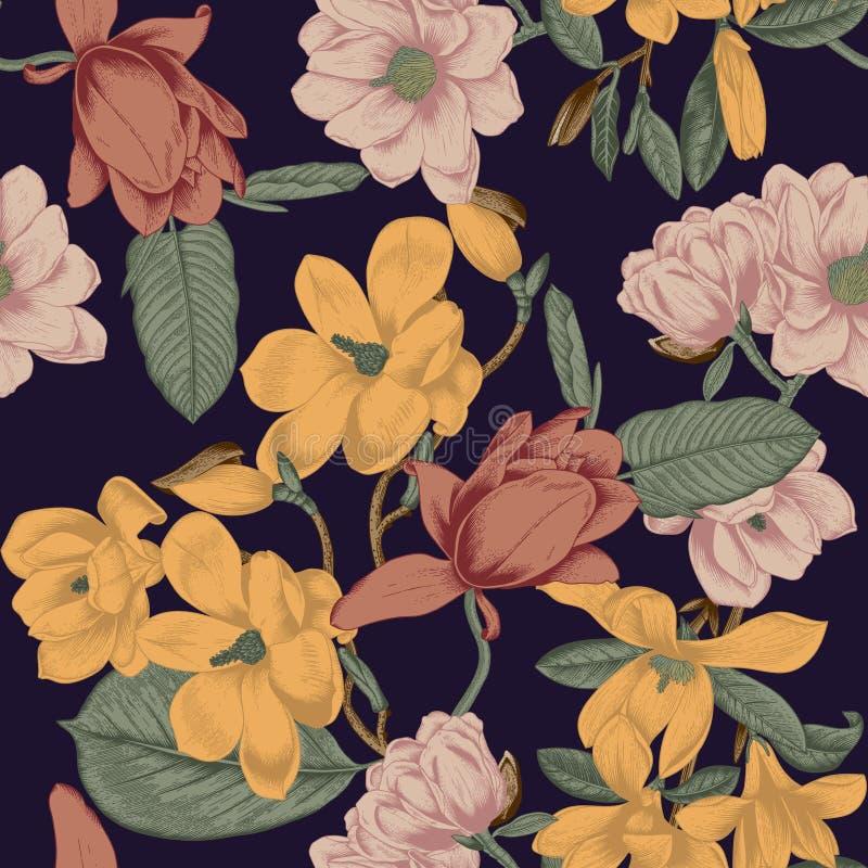 magnolias Flores Fondo inconsútil del vector con las flores botánica Primavera Árboles florecientes Modelo vegetal Jardín stock de ilustración