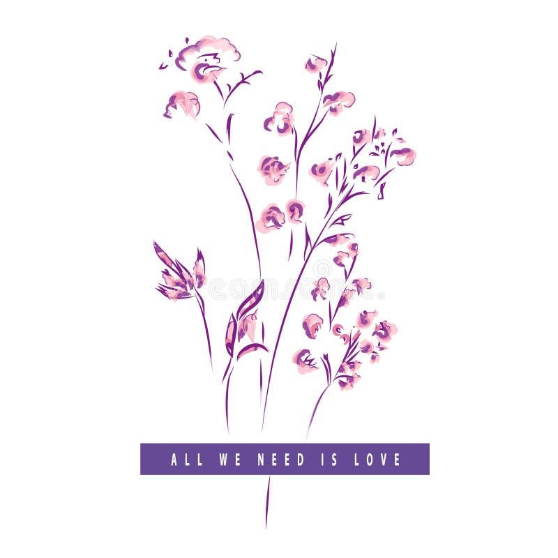 Magnolienblumen, die mit Liniekunst auf weißen Hintergründen zeichnen lizenzfreie abbildung