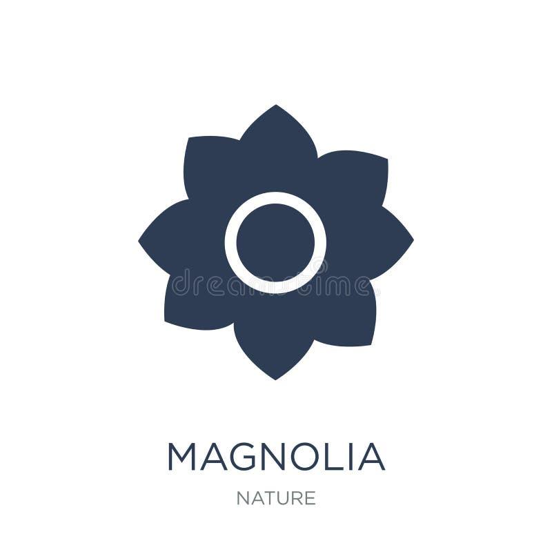Magnoliowa ikona Modna płaska wektorowa Magnoliowa ikona na białym backgro ilustracja wektor
