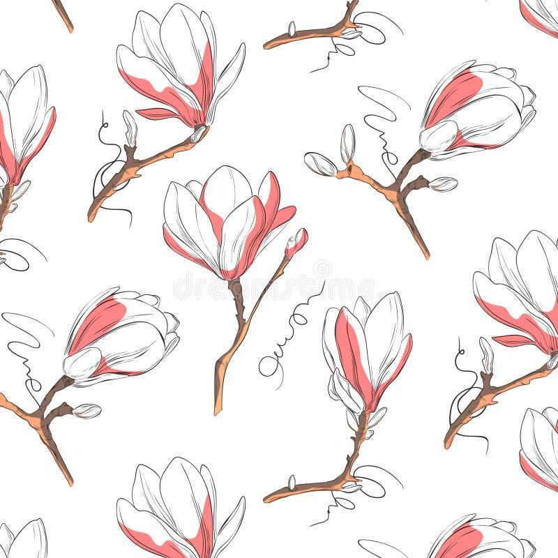 Magnoliowy kwiatu wzór Powtarza botaniczną teksturę z kwiatami w błękitnych i pastelowych menchiach na białym tle ręka patroszona ilustracja wektor