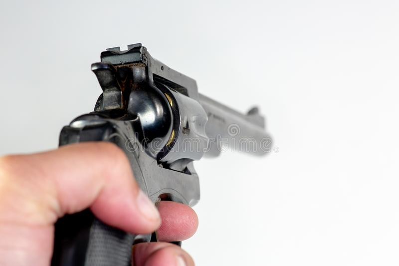 A 357 Magnum Handgun pointing st a target royalty free stock photography