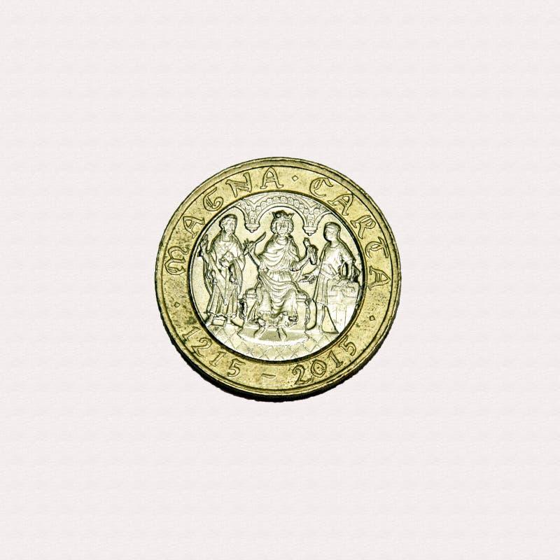 Magnumu carta £2 moneta zdjęcie royalty free