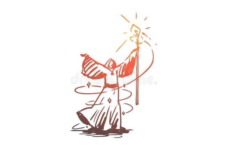 Mago, mago, brujería, brujería, concepto del traje Vector aislado dibujado mano libre illustration