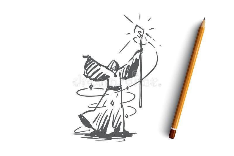 Mago, mago, brujería, brujería, concepto del traje Vector aislado dibujado mano stock de ilustración