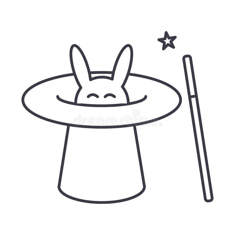 Mago con el conejo, sombrero mágico, línea icono, muestra, ejemplo del vector del truco de la vara en el fondo, movimientos edita ilustración del vector