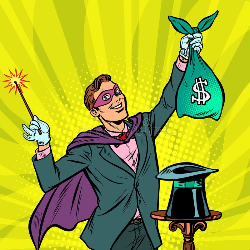 Mago con el dinero del dólar ilustración del vector