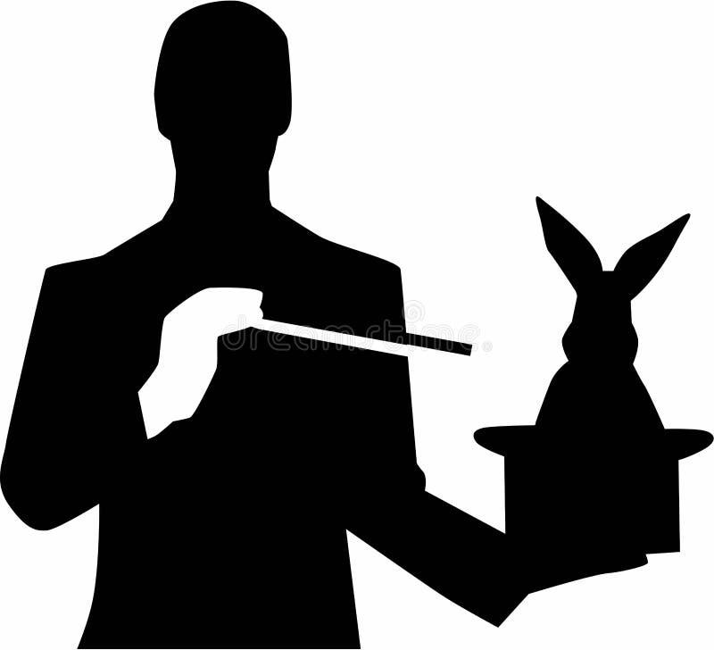 Mago con el sombrero del conejo stock de ilustración