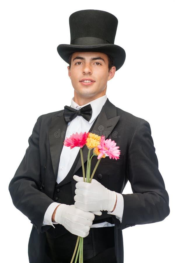 Mago con i fiori fotografie stock libere da diritti