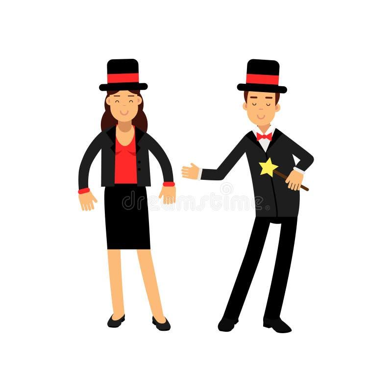 Mago con la vara mágica y su ayudante femenino en el traje y el sombrero de copa negros elegantes, vector de los ejecutantes de c libre illustration