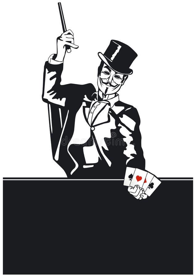 Mago con truco de tarjeta ilustración del vector