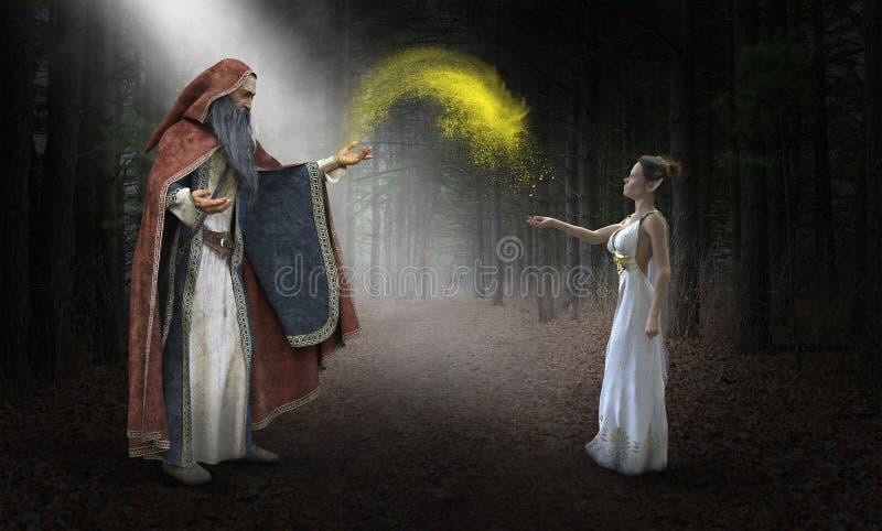 Mago de la fantasía, imaginación, magia, duende imagen de archivo