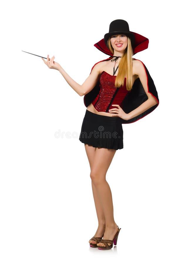 Mago de la mujer con la vara mágica fotos de archivo