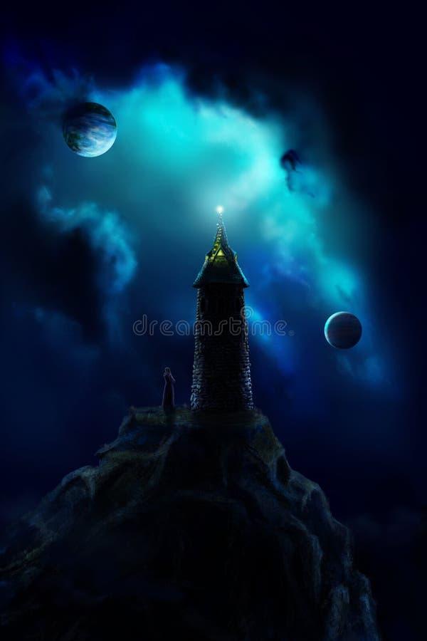 Mago de la torre stock de ilustración